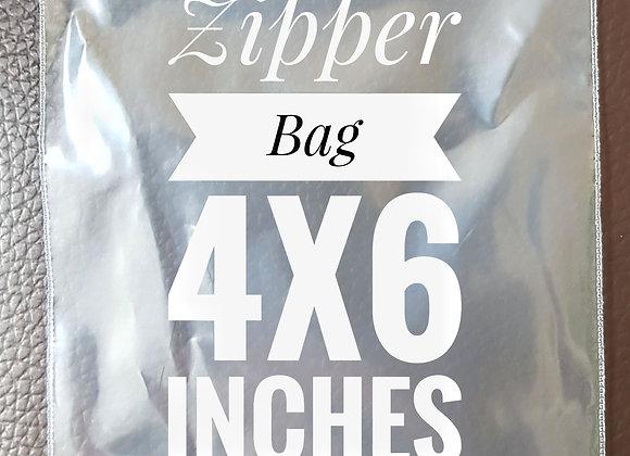 Clear 100 micron zipper bag size 4 inch x 6 inch