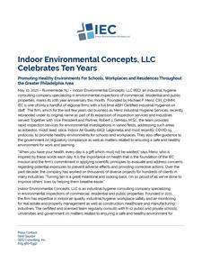 Indoor Environmental Concepts, LLC Celebrates Ten Years