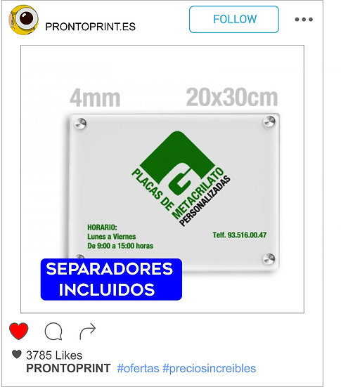 PLACA DE METACRILATO TRANSPARENTE