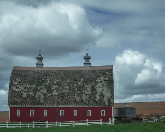 Red Weathervane Barn