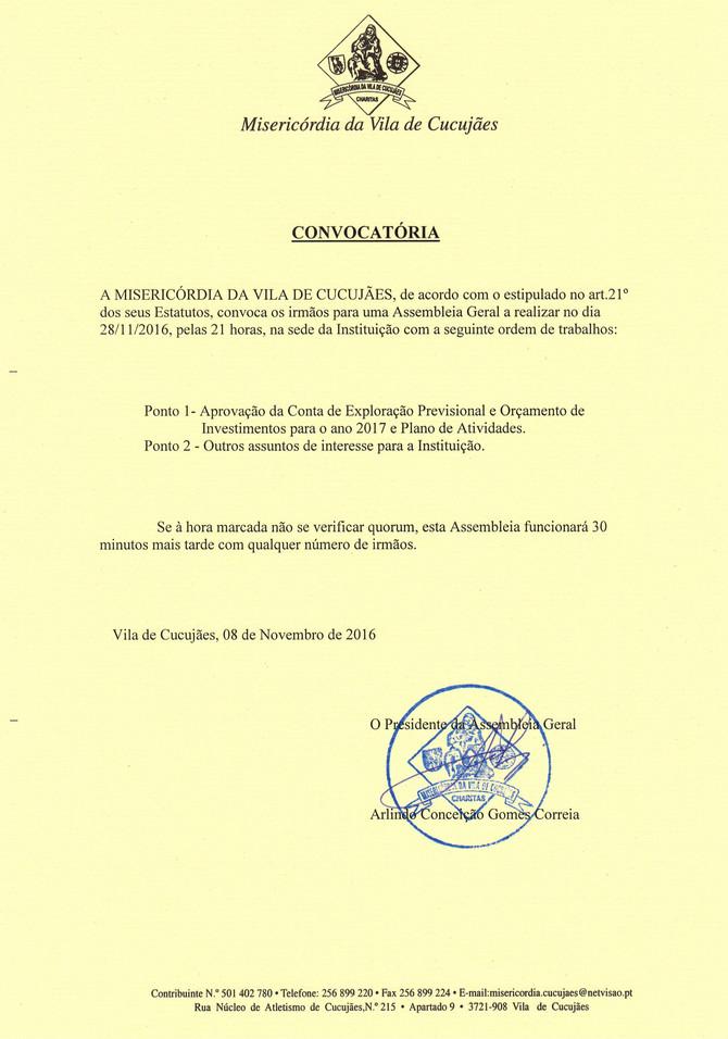 Convocatória para Reunião da Assembleia Geral