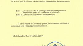 Convocatória para a Reunião de Assembleia Geral