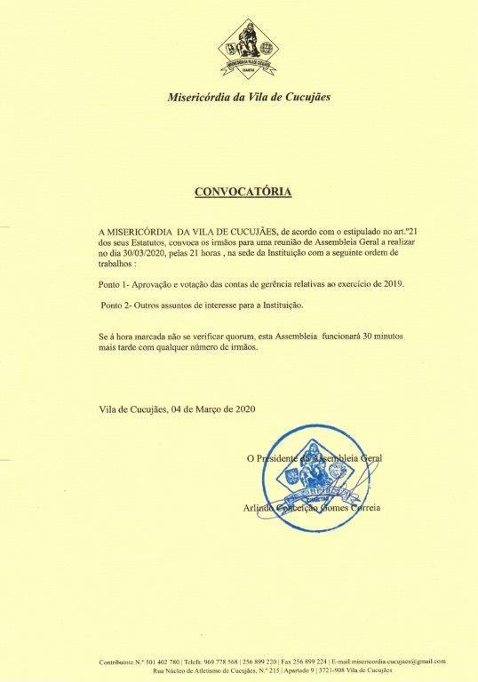 Convocatória para Reunião de Assembleia Geral
