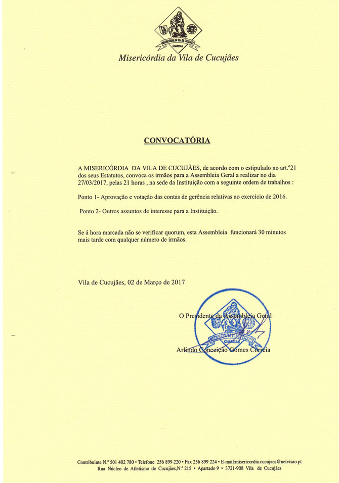 Convocatória para a Reunião da Assembleia Geral