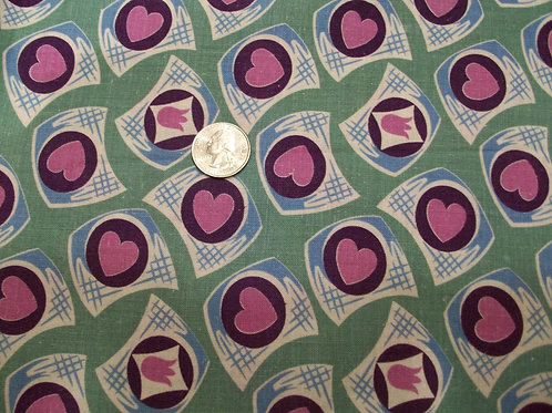 Novelty Spring Green background with purple hearts/tulips