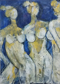 """Ellas"". Mixed Media. 48 x40 in"