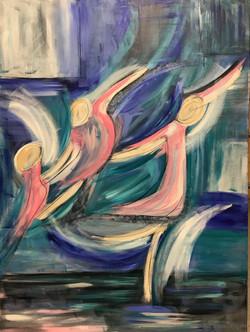 Tres bailarinas. 30_40. 2018.acrylic