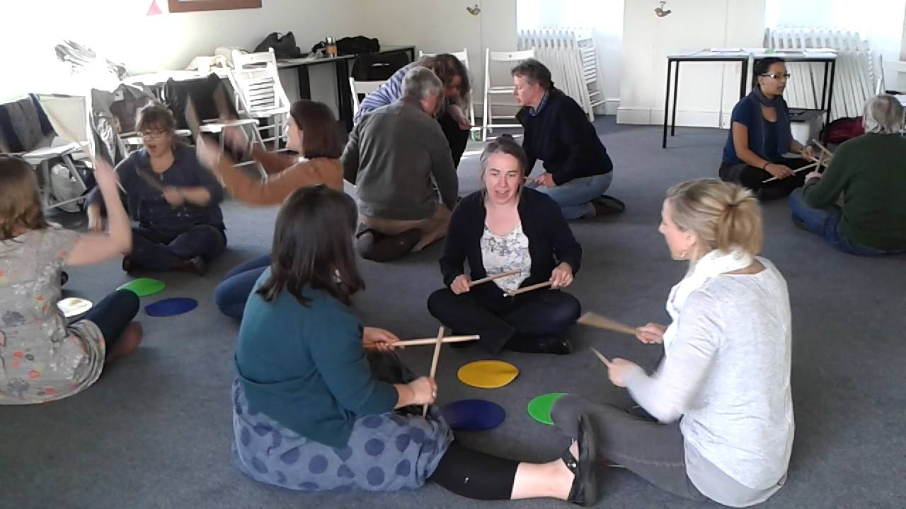 """Day 2 of a recent teacher training workshop (Preschool/Primary in York).  We all had fund with Li'l Liza Jane throughout the weekend, then did this stick routine to highlight various rhythms etc.  We wanted to make a special highlight on """"high Do"""" ju"""