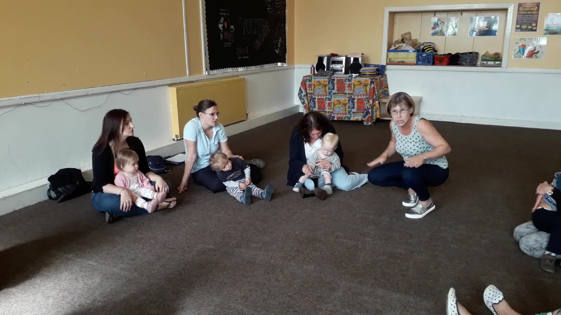 Parents and Toddlers sing Cobbler Cobbler in canon