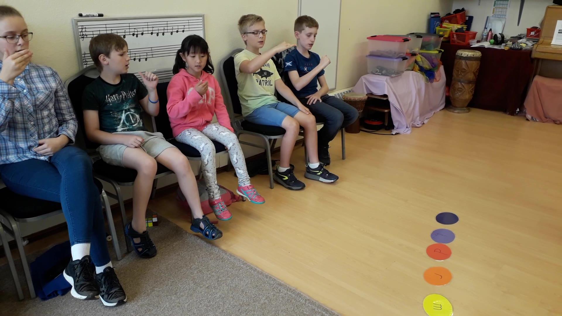 Upper Primary children warm up with La Multi-Canon