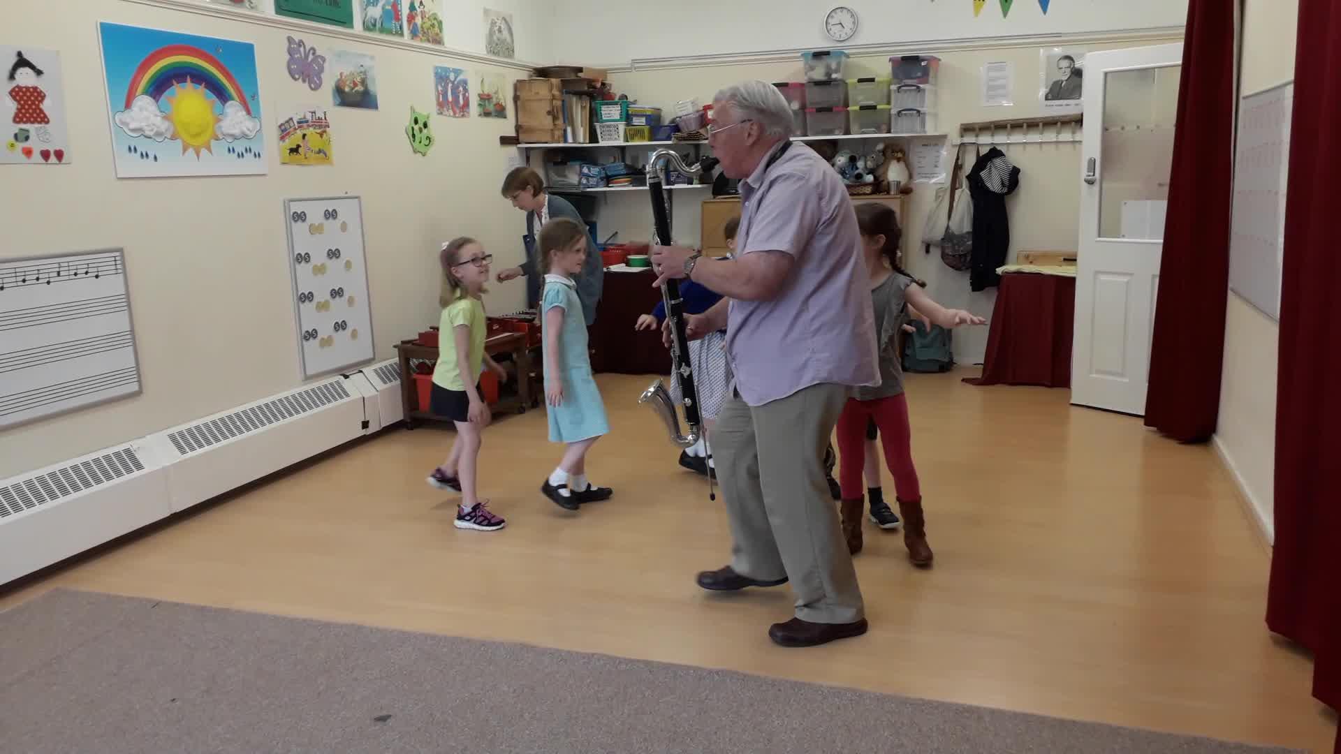 "Primary School children ""Turn Teddy"" with a Bass Clarinet"