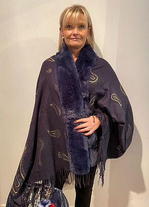 Outdoor Dining Amber Faux Fur Shawl Navy