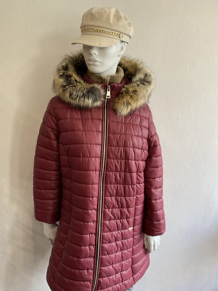 Designer Quilted Faux Fur Hooded Coat