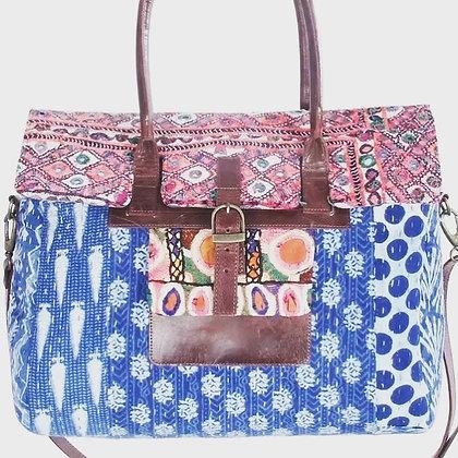 Boho Chic Kantha & leather Overnight Bag