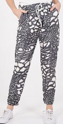 Wild Print Magic Pants Charcoal