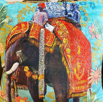 Luxury Velvet Cushion Indian Elephant Travels