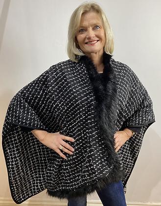 Malissa J Faux Fur Tweed Cape