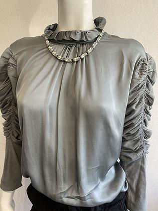 Silver Silk Puff Sleeve Blouse