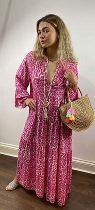 Boho Maxi Dress Hot Pink
