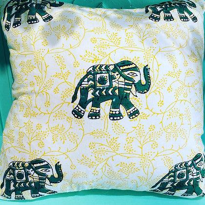 Pure Cotton Elephant Block Print Cushion