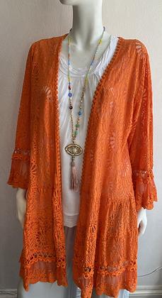 Santorini Lace Jacket available in white, orange & blue