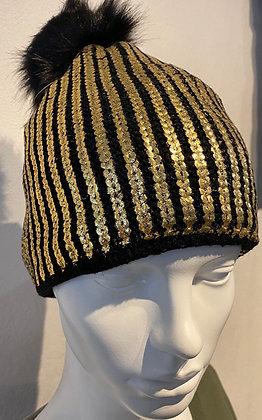 Ebony Black & Gold Thermal Winter Hat