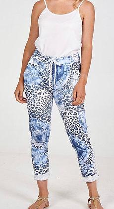 Tie Dye Blue Leopard Magic Trousers