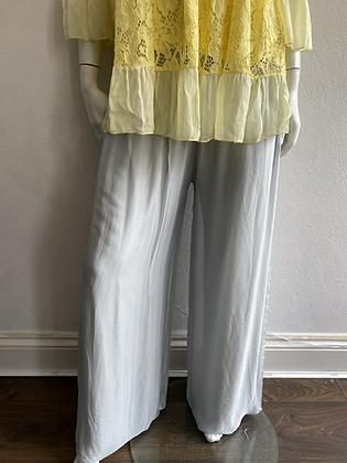 Margo Silver Silk Palazzo Pants