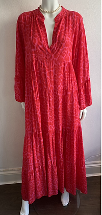 Red and Pink Boho Leopard Maxi Dress
