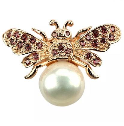 Real Pearl and Rhodolite Garnet Bee Brooch