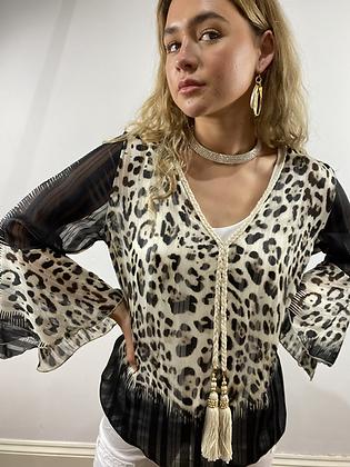 Paris Leopard Bell Sleeve Top