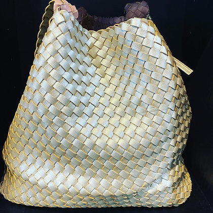 Reversible Woven Eco Leather Bag