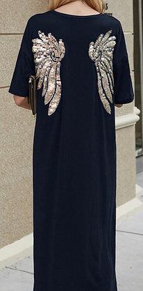 Plus Size Angel Wing Navy T-shirt Dress