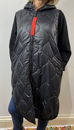Longline Quilted Black Gilet