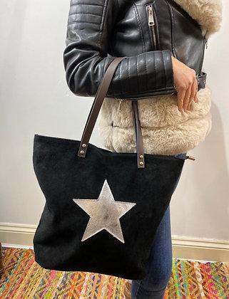 Real Suede Star Shopper Bag