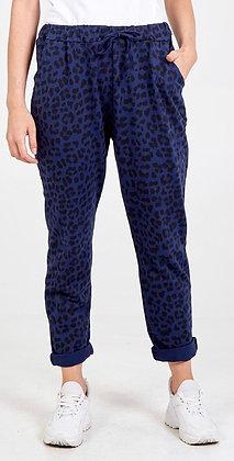 Navy Leopard Cotton Joggers