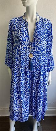 Royal Blue Leopard Boho Dress