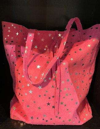 Twinkle Little Star Italian Suede Shoulder Bag Pink