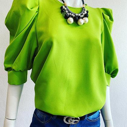 Beautiful Italian Bright Green Puff Sleeve Top