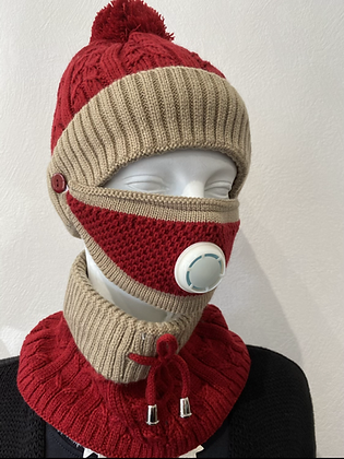 3 in 1 Hat, Mask & Snood Red