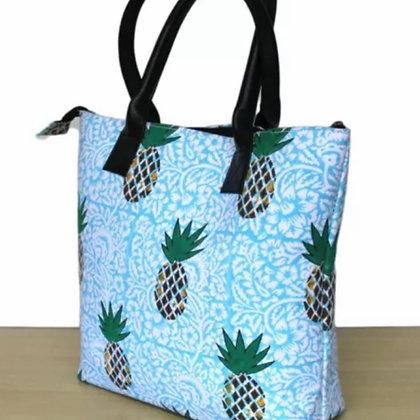 Pineapple Block Print Weekend Bag