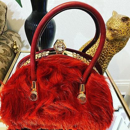 Couture Wine Faux Fur Handbag