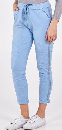 Sky Blue Double Star Side Stripe Magic Pants