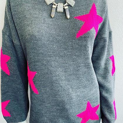 Neon Pink Star Jumper