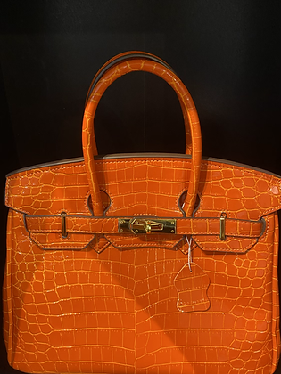 Patent Orange Crocodile Birkin Bag