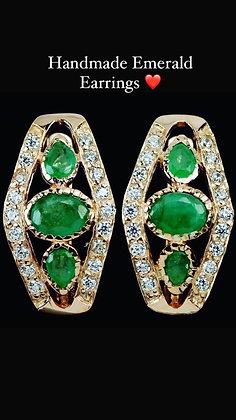 Handmade Emerald and CZ Earrings