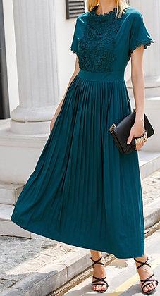 Mayfair Elegant Teal Pleated Dress