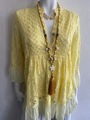 Mellow Yellow Lace Silk Top