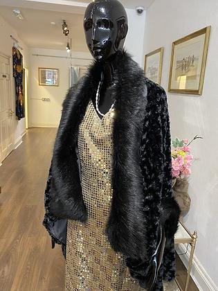 Black Faux Fur Sleeved Evening Cape
