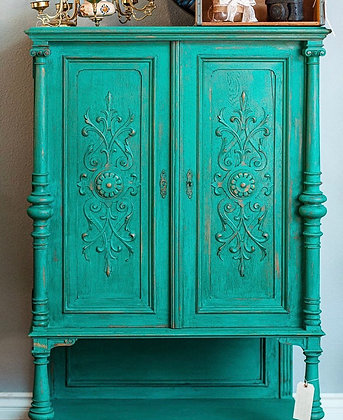Antique Painted Cupboard in Turquoise